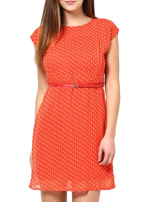 orange polka dot georgette dress