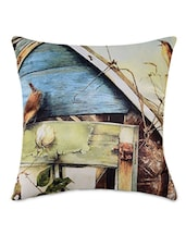 Bird Flower Pattern Print Cushion Cover - By