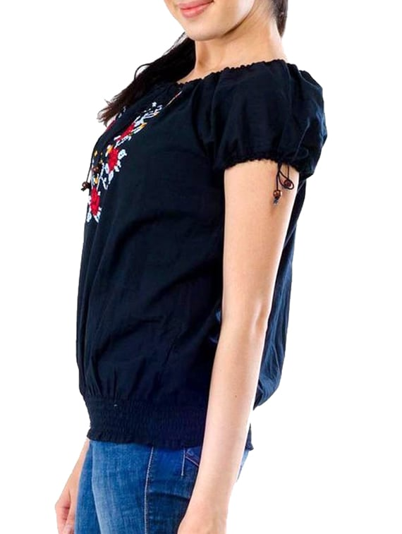 Black Fl Embroidered Cotton Top 11912559 Zoom Image 2