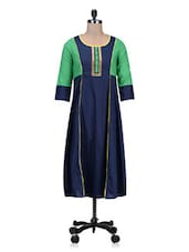 Round Neck Colour Block Cotton Kurta - By