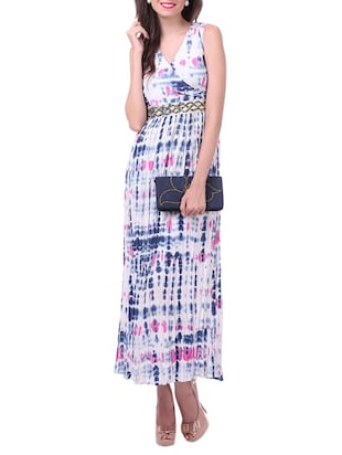 Multicolour beaded printed  poly crepe maxi dress