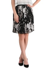 Black Printed  Poly Georgette Floral Skirt - By