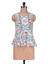 Multicolour Printed Poly Georgette Peplum Top - By