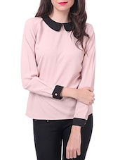 Pink poly moss crepe collar top -  online shopping for Tops