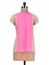 Pink  Poly Crepe Top - By