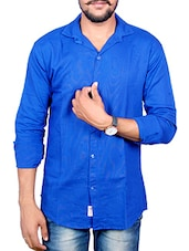 blue color, linen casual shirt -  online shopping for casual shirts