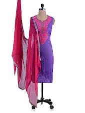 Purple And Pink Embroidered Unstitched Suit Set - By