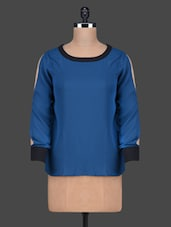 Solid Blue Color Round Neck Long Sleeve Top - Besiva