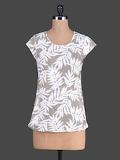 Tropical Print Short Sleeve Round Neck Top - Besiva