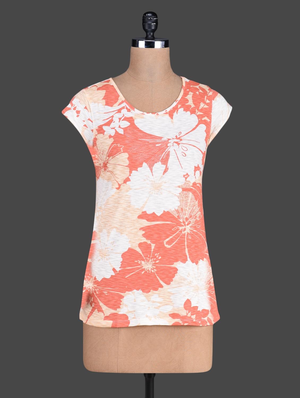 Floral Pattern Print Round Neck Short Sleeve Top - Besiva