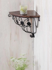 Floral Pattern Wrought Iron & Wooden Corner Wall Bracket - Centenarian Art & Crafts