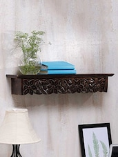 Flowers Carved Solid Wood Wall Shelf - Centenarian Art & Crafts