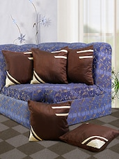 Dekor World Brown Stripe Cushion Cover (Pack Of 5) - By