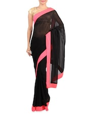 Black Faux Georgette Saree With Pink Border - Mirchi Fashion
