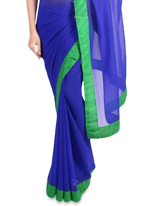 Blue faux georgette saree with green border - 1192807 - Standard Image - 2