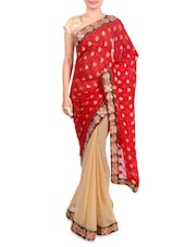 Red And Beige Jacquard Saree - By