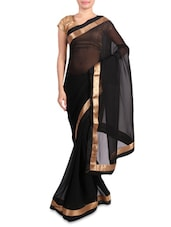 Black Faux Georgette Saree With Gold Border - Mirchi Fashion