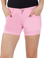 Pink Cotton Lycra Shorts - By