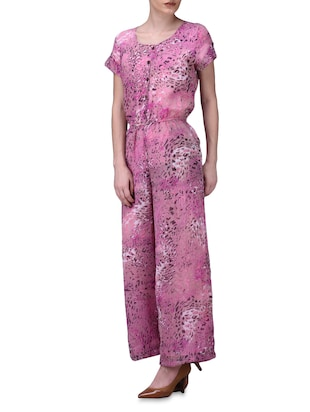 319ed4c19d9 Buy Animal Print Dusky Pink Jumpsuit for Women from Se Deplace for ₹3250 at  0% off