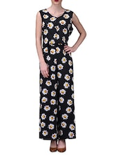 Daisy Print Black Sleeveless Jumpsuit - By