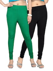 Black And Green Cotton Lycra Leggings Set - By