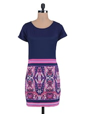 Blue Printed Poly Crepe Knitted Cotton Dress - By