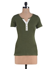 Green Placket Designed Knitted Cotton Top - By