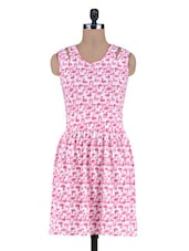 Pink Printed Knitted Cotton Dress - By