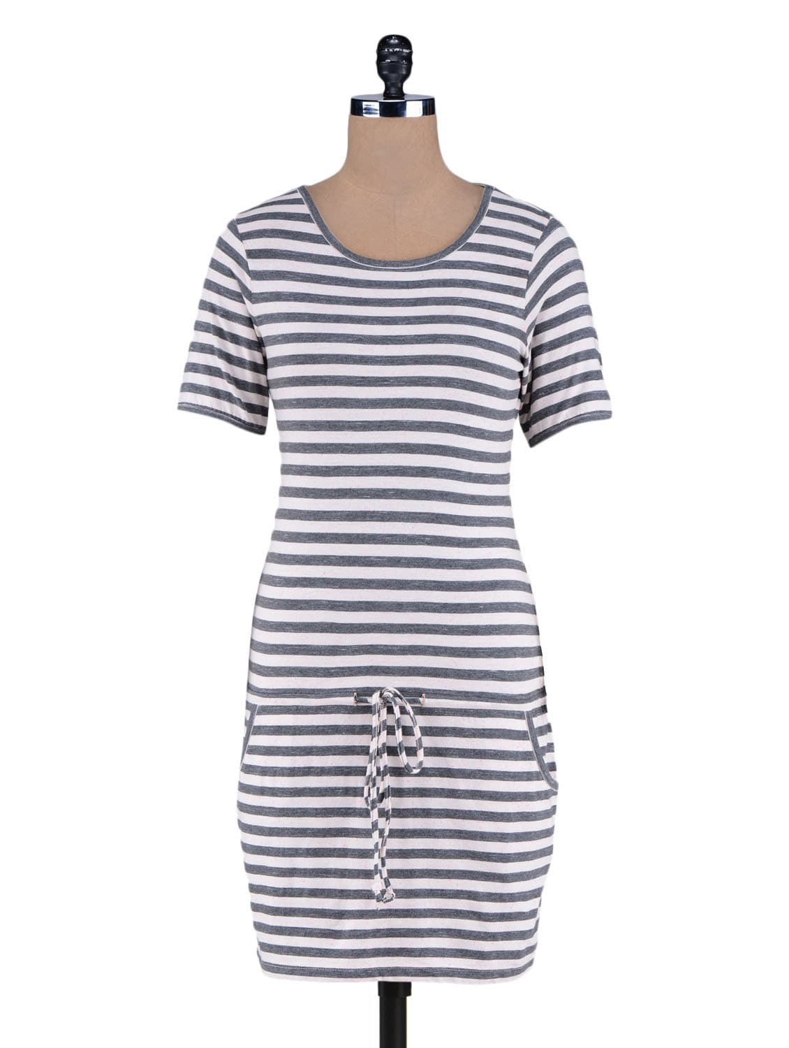 Grey Yarn Dyed Stripes Knitted Cotton Dress - By