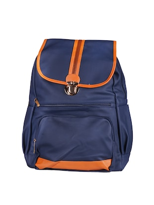 blue synthetic leather backpack -  online shopping for backpacks