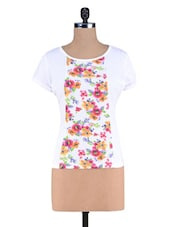White Floral Printed Knitted Cotton Top - By