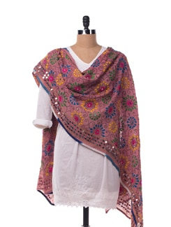 Pink Embroidered Dupatta - Vayana