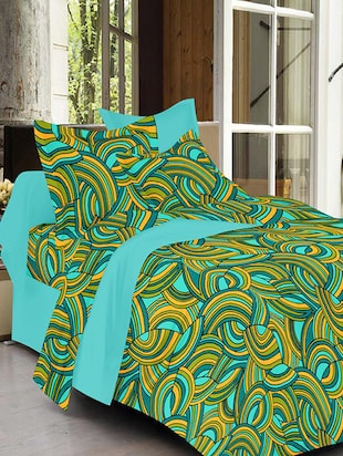 multi colored printed cotton bed sheet set