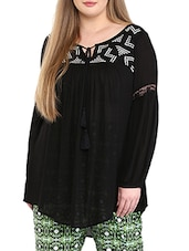 black embroidered viscose tunic -  online shopping for Tunics