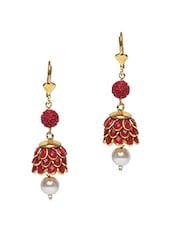 Red Semi-precious Stone Embellished Earrings - Roshni Creations