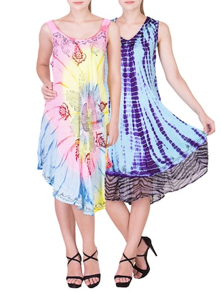 set of 2 multicolored printed chiffon dress