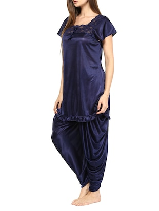blue satin pyjama set nightwear - 11958650 - Standard Image - 2