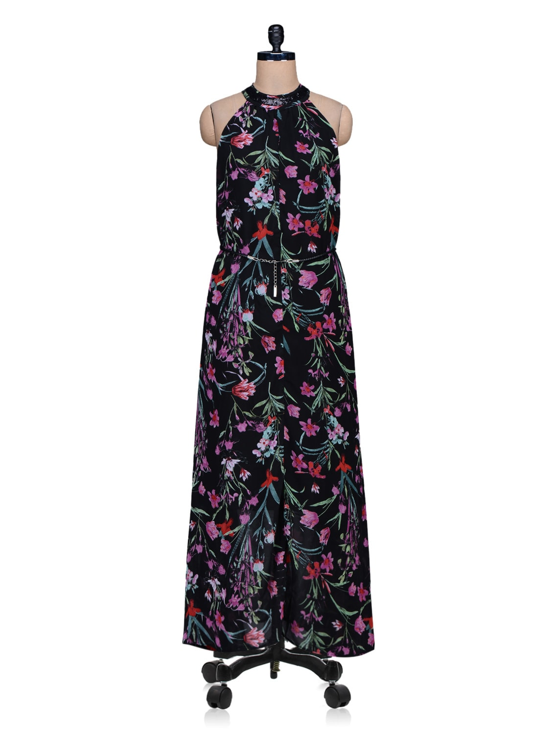 Black Floral Printed Maxi Dress - By
