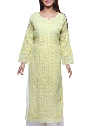 Lemon Yellow Chikankari Embroidered Georgette Kurta
