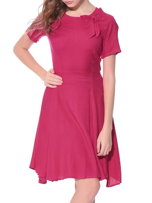 solid pink rayon dress