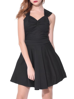 solid black rayon dress