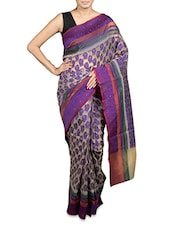 Purple Kora Cotton Art Silk Saree - By