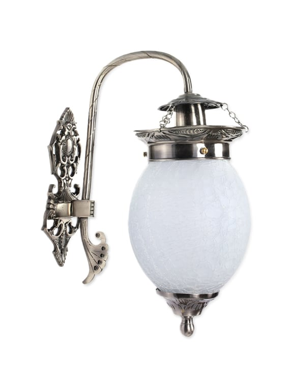 White Glass And Brass Wall Hanging Light - By