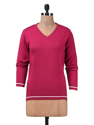 solid pink casual pullover