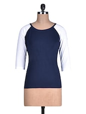 Navy Blue Cotton Knit T-shirt - By