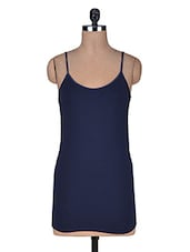 Navy Blue Cotton Spandex  Camisole - By