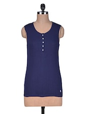 Dark Blue Cotton Camisole With Buttons - By