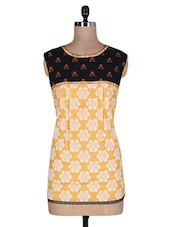 Yellow And Black Cotton Printed Kurti - By