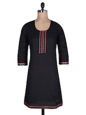 Black Cotton Kurti With Lace Trim - By