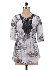 Black Floral Printed Poly Georgette Casual Shirt - By